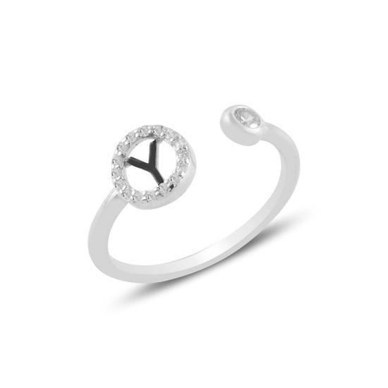 Ürün resmi: Rodyum Kaplama -Y- Harfi Zirkon Taşlı Ayarlanabilir Boylu Gümüş Bayan Yüzük