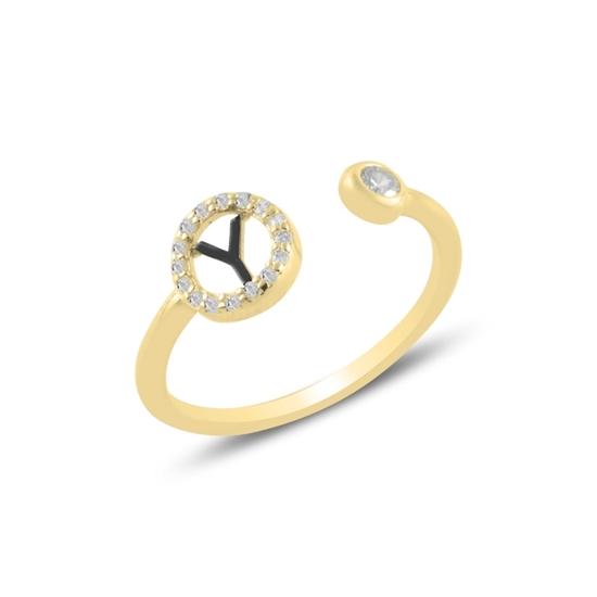 Ürün resmi: Altın Kaplama -Y- Harfi Zirkon Taşlı Ayarlanabilir Boylu Gümüş Bayan Yüzük