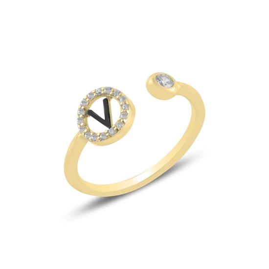 Ürün resmi: Altın Kaplama -V- Harfi Zirkon Taşlı Ayarlanabilir Boylu Gümüş Bayan Yüzük