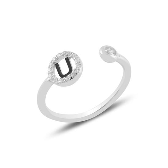 Ürün resmi: Rodyum Kaplama -U- Harfi Zirkon Taşlı Ayarlanabilir Boylu Gümüş Bayan Yüzük