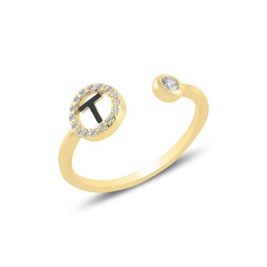 Ürün resmi: Altın Kaplama -T- Harfi Zirkon Taşlı Ayarlanabilir Boylu Gümüş Bayan Yüzük