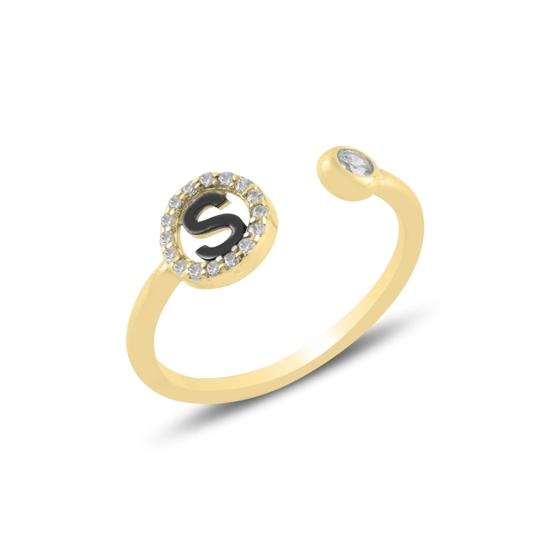 Ürün resmi: Altın Kaplama -S- Harfi Zirkon Taşlı Ayarlanabilir Boylu Gümüş Bayan Yüzük
