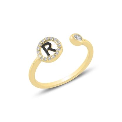 Resim Altın Kaplama -R- Harfi Zirkon Taşlı Ayarlanabilir Boylu Gümüş Bayan Yüzük