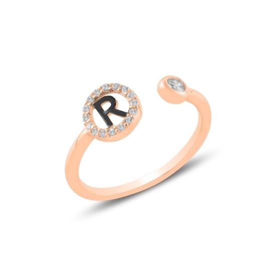 Ürün resmi: Rose Kaplama -R- Harfi Zirkon Taşlı Ayarlanabilir Boylu Gümüş Bayan Yüzük