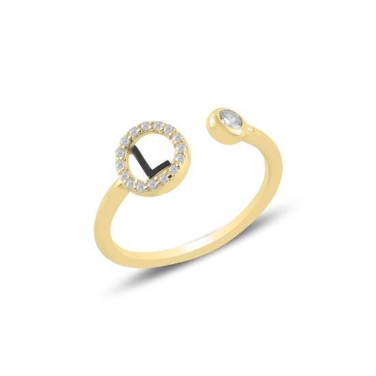 Ürün resmi: Altın Kaplama -L- Harfi Zirkon Taşlı Ayarlanabilir Boylu Gümüş Bayan Yüzük