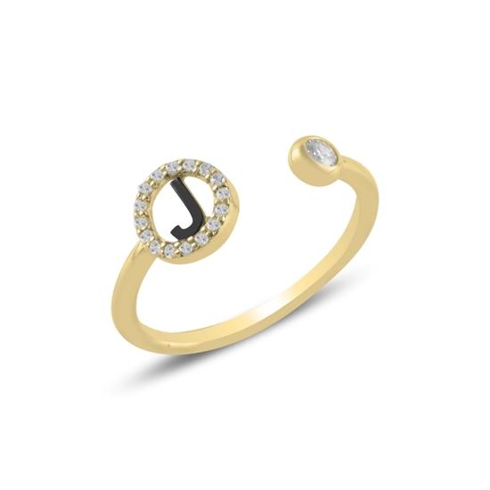 Ürün resmi: Altın Kaplama -J- Harfi Zirkon Taşlı Ayarlanabilir Boylu Gümüş Bayan Yüzük