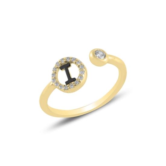 Ürün resmi: Altın Kaplama -I- Harfi Zirkon Taşlı Ayarlanabilir Boylu Gümüş Bayan Yüzük