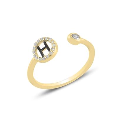 Resim Altın Kaplama -H- Harfi Zirkon Taşlı Ayarlanabilir Boylu Gümüş Bayan Yüzük