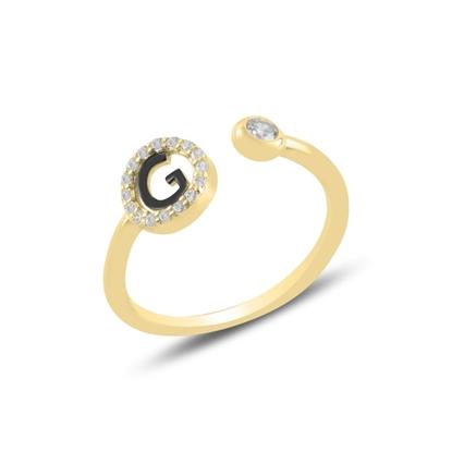 Resim Altın Kaplama -G- Harfi Zirkon Taşlı Ayarlanabilir Boylu Gümüş Bayan Yüzük