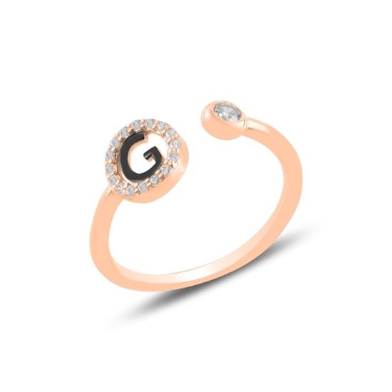 Ürün resmi: Rose Kaplama -G- Harfi Zirkon Taşlı Ayarlanabilir Boylu Gümüş Bayan Yüzük