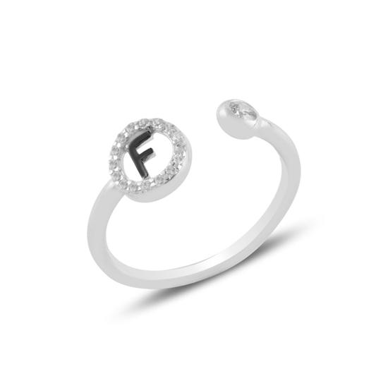 Ürün resmi: Rodyum Kaplama -F- Harfi Zirkon Taşlı Ayarlanabilir Boylu Gümüş Bayan Yüzük