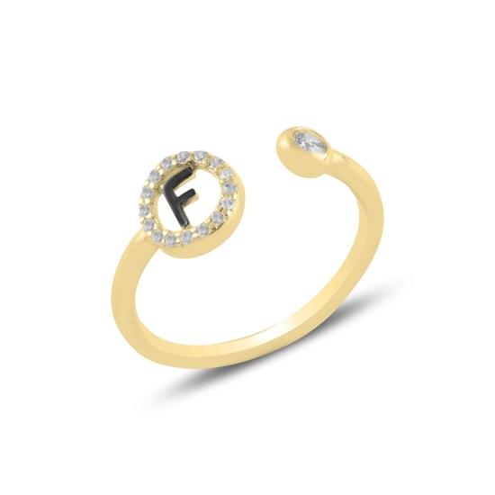 Ürün resmi: Altın Kaplama -F- Harfi Zirkon Taşlı Ayarlanabilir Boylu Gümüş Bayan Yüzük