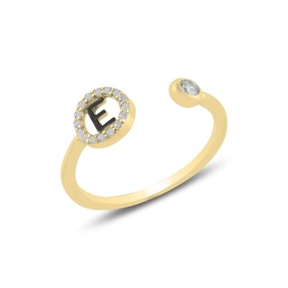 Resim Altın Kaplama -E- Harfi Zirkon Taşlı Ayarlanabilir Boylu Gümüş Bayan Yüzük