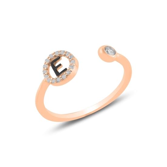 Ürün resmi: Rose Kaplama -E- Harfi Zirkon Taşlı Ayarlanabilir Boylu Gümüş Bayan Yüzük