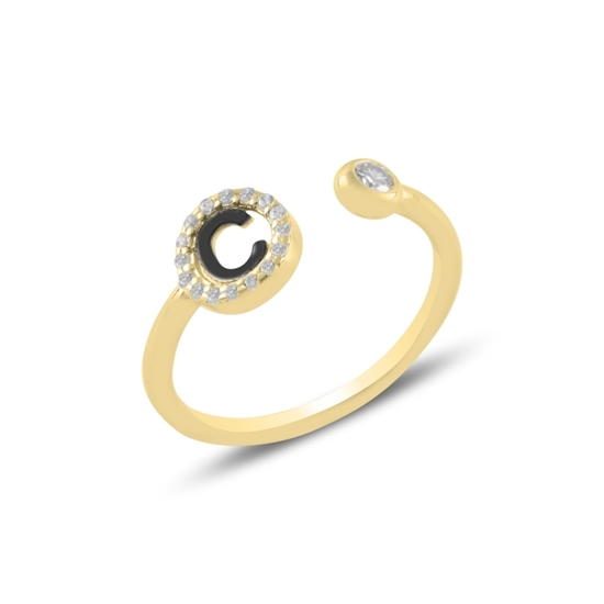 Ürün resmi: Altın Kaplama -C- Harfi Zirkon Taşlı Ayarlanabilir Boylu Gümüş Bayan Yüzük