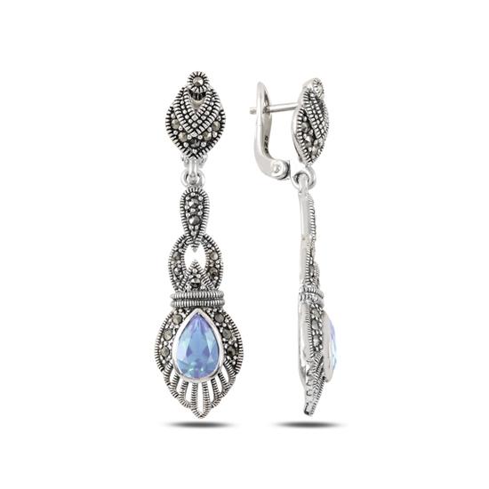 Ürün resmi: Zirkon & Markazit Taşlı Gümüş Sallantılı Küpe