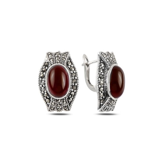 Ürün resmi: Kırmızı Akik & Markazit Taşlı Gümüş J Küpe