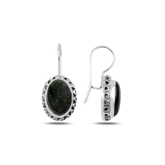 Ürün resmi: Yeşil Yıldız Taşlı Oksitli El İşi Gümüş Küpe
