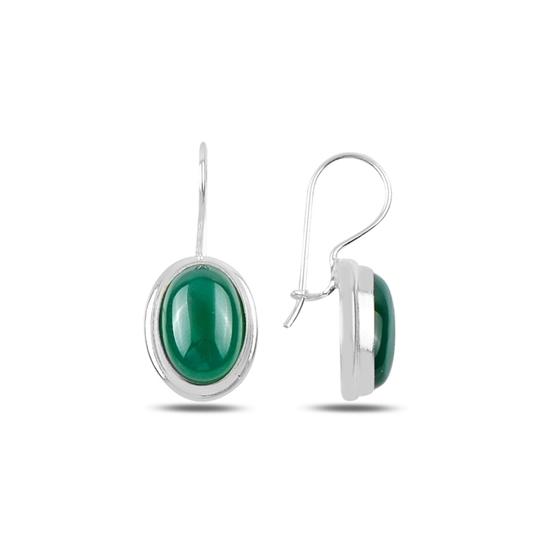 Ürün resmi: Yeşil Akik Taşlı El İşi Gümüş Küpe
