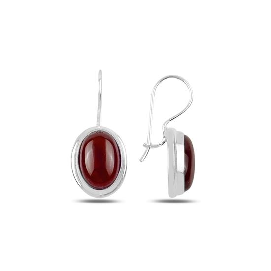 Ürün resmi: Kırmızı Akik Taşlı El İşi Gümüş Küpe