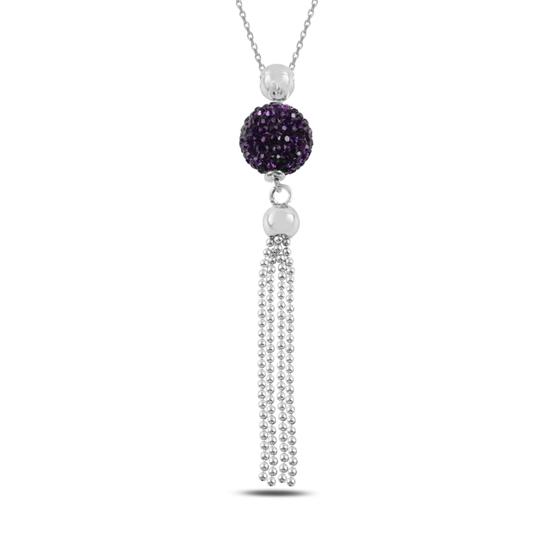 Ürün resmi: Kristal Taşlı Püsküllü Gümüş Bayan Kolye