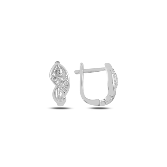 Ürün resmi: Rodyum Kaplama Zirkon Taşlı Gümüş J Küpe