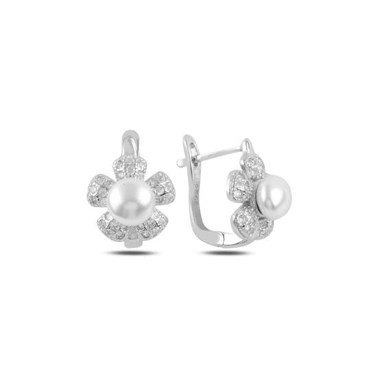 Ürün resmi: Rodyum Kaplama Papatya İnci & Zirkon Taşlı Gümüş J Küpe