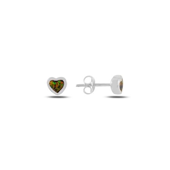 Ürün resmi: Opal Taşlı Kalp Gümüş Küpe