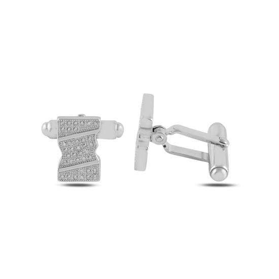 Ürün resmi: Rodyum Kaplama Zirkon Taşlı Kol Düğmesi
