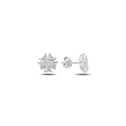 Resim Rodyum Kaplama Kalp Zirkon Taşlı Çiçek & Yıldız Gümüş Küpe