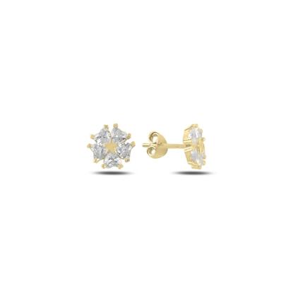Resim Altın Kaplama Kalp Zirkon Taşlı Çiçek & Yıldız Gümüş Küpe