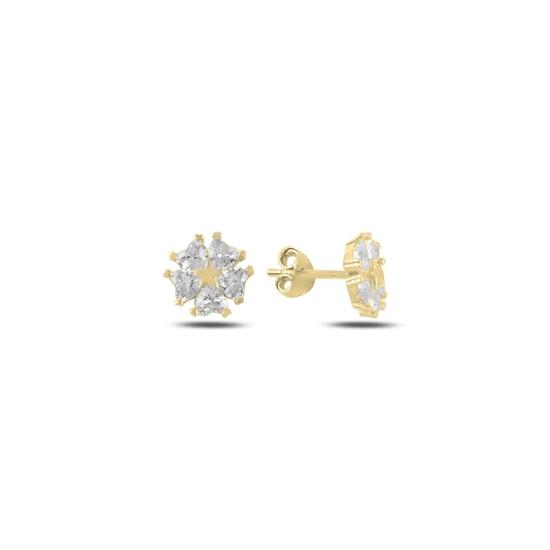 Ürün resmi: Altın Kaplama Kalp Zirkon Taşlı Çiçek & Yıldız Gümüş Küpe