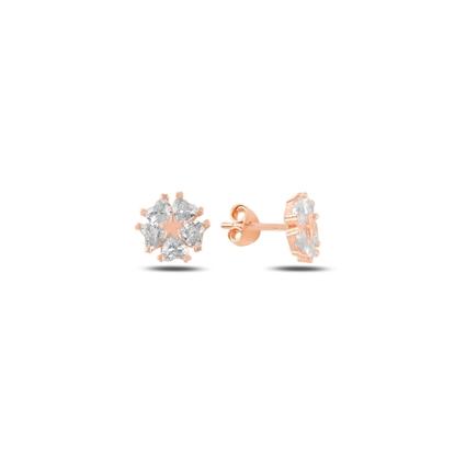 Resim Rose Kaplama Kalp Zirkon Taşlı Çiçek & Yıldız Gümüş Küpe