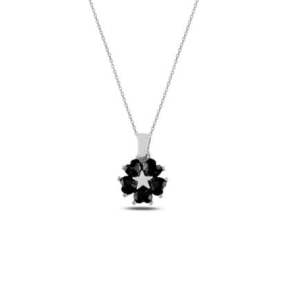 Resim Rodyum Kaplama Siyah Zirkon Kalp Zirkon Taşlı Çiçek & Yıldız Gümüş Bayan Kolye