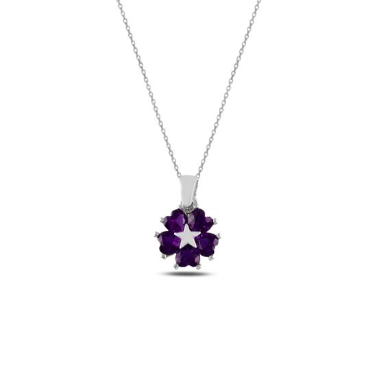 Ürün resmi: Rodyum Kaplama Ametist Zirkon (Mor) Kalp Zirkon Taşlı Çiçek & Yıldız Gümüş Bayan Kolye