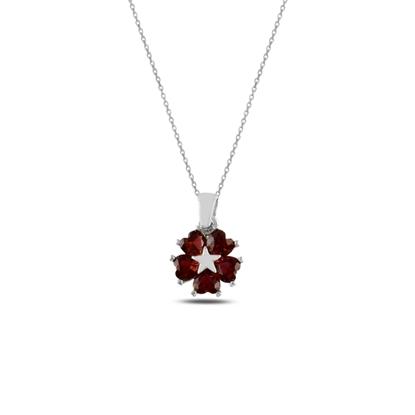Resim Rodyum Kaplama Garnet Zirkon (Kırmızı) Kalp Zirkon Taşlı Çiçek & Yıldız Gümüş Bayan Kolye