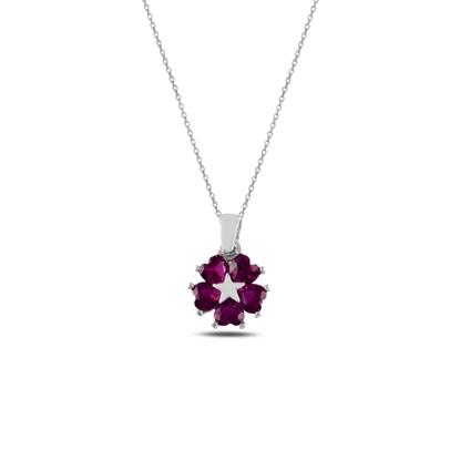 Resim Rodyum Kaplama Yakut Zirkon (Pembe) Kalp Zirkon Taşlı Çiçek & Yıldız Gümüş Bayan Kolye