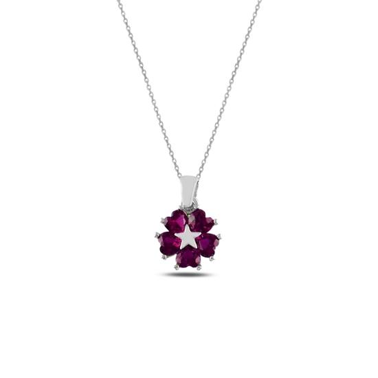 Ürün resmi: Rodyum Kaplama Yakut Zirkon (Pembe) Kalp Zirkon Taşlı Çiçek & Yıldız Gümüş Bayan Kolye