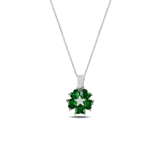 Ürün resmi: Rodyum Kaplama Zümrüt Zirkon (Yeşil) Kalp Zirkon Taşlı Çiçek & Yıldız Gümüş Bayan Kolye