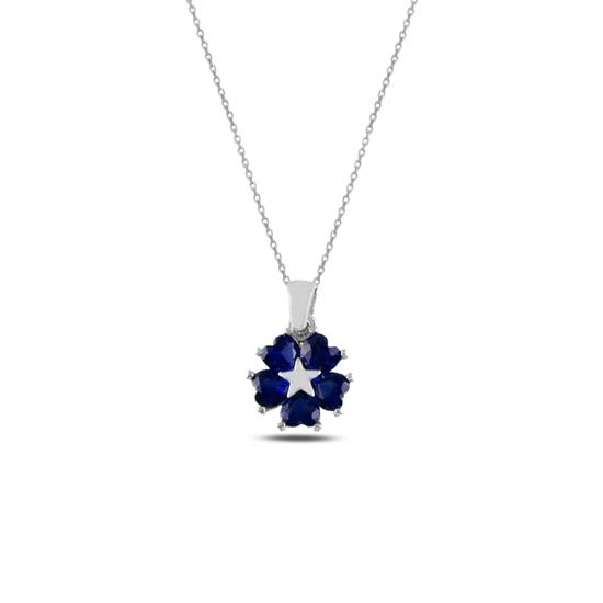 Ürün resmi: Rodyum Kaplama Safir Zirkon (Lacivert) Kalp Zirkon Taşlı Çiçek & Yıldız Gümüş Bayan Kolye