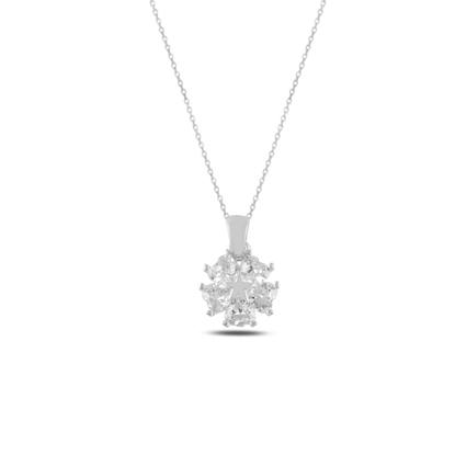 Resim Rodyum Kaplama Kalp Zirkon Taşlı Çiçek & Yıldız Gümüş Bayan Kolye
