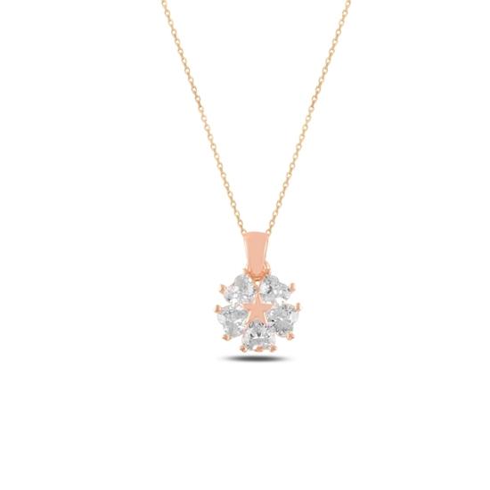 Ürün resmi: Rose Kaplama Kalp Zirkon Taşlı Çiçek & Yıldız Gümüş Bayan Kolye