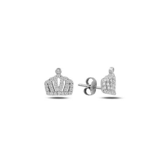 Ürün resmi: Rodyum Kaplama Taç Zirkon Taşlı Gümüş Küpe