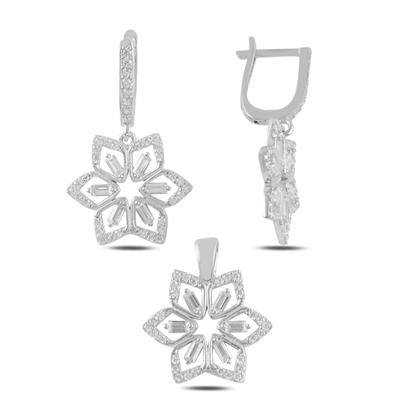 Resim Rodyum Kaplama Çiçek Baget Zirkon Taşlı Sallantılı Gümüş Bayan Set