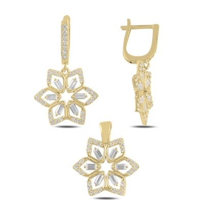 Resim Altın Kaplama Çiçek Baget Zirkon Taşlı Sallantılı Gümüş Bayan Set