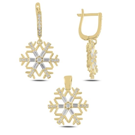 Ürün resmi: Altın Kaplama Kar Tanesi Baget Zirkon Taşlı Sallantılı Gümüş Bayan Set