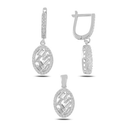 Resim Rodyum Kaplama Baget Zirkon Taşlı Sallantılı Gümüş Bayan Set