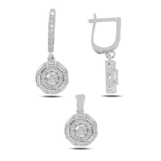 Ürün resmi: Rodyum Kaplama Baget Zirkon Taşlı Sallantılı Gümüş Bayan Set