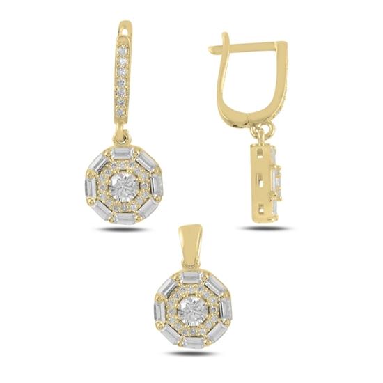 Ürün resmi: Altın Kaplama Baget Zirkon Taşlı Sallantılı Gümüş Bayan Set