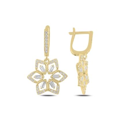 Resim Altın Kaplama Çiçek Baget Zirkon Taşlı Gümüş Sallantılı Küpe